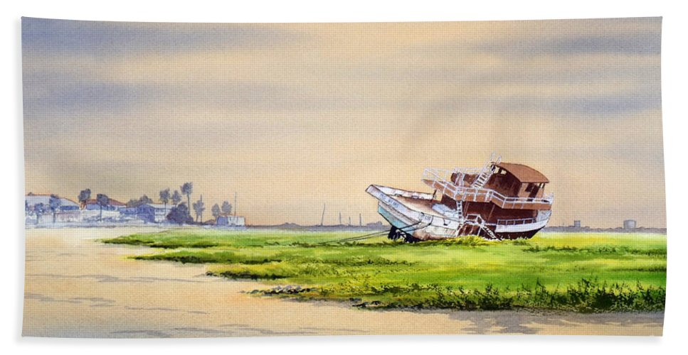 Hurricane Ike Beach Towel featuring the painting Hurricane Ike Boat Wreck Freeport Texas by Bill Holkham