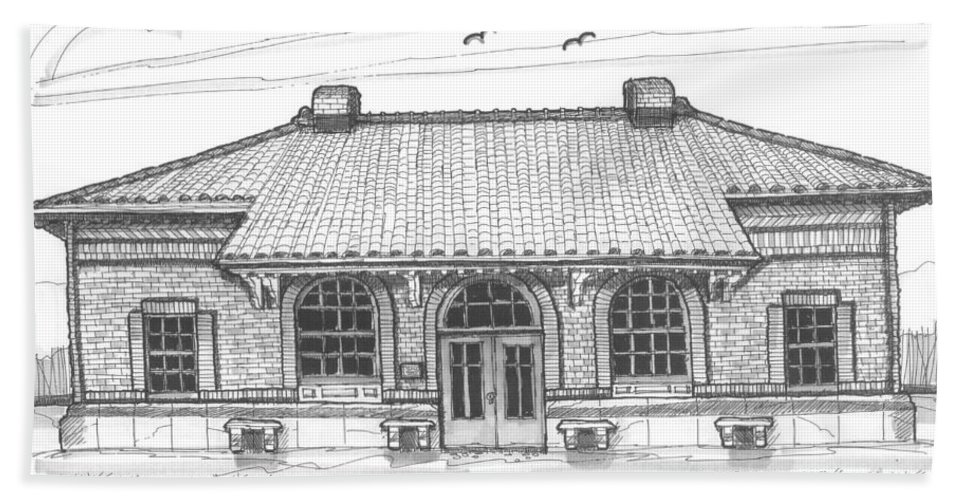 Hyde Park Beach Towel featuring the drawing Hyde Park Historic Train Station by Richard Wambach
