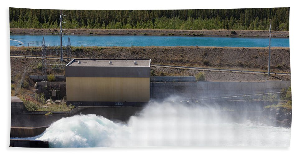 Breaking Beach Towel featuring the photograph Hydro Power Station Dam Open Gate Spillway Water by Stephan Pietzko
