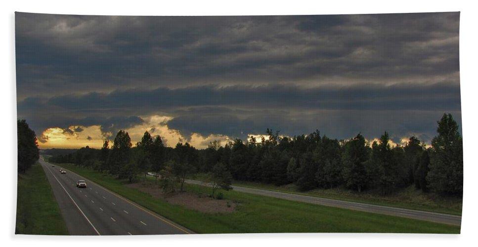 Nature Beach Towel featuring the photograph I-85 Shelf Cloud by Matt Taylor