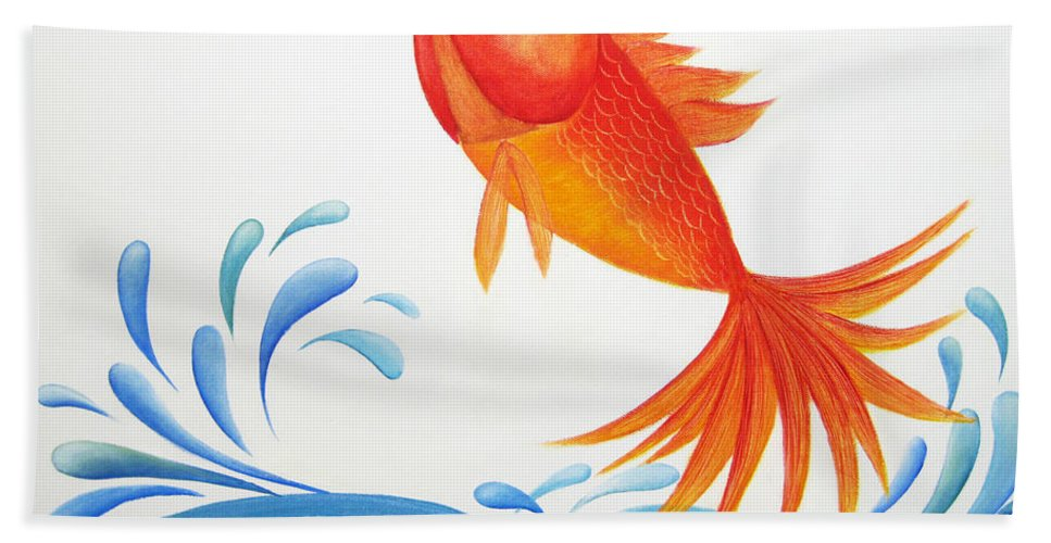 Whimsical Beach Towel featuring the painting I Am Back by Oiyee At Oystudio
