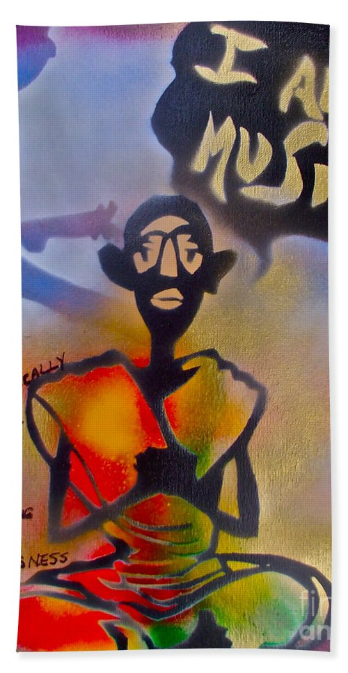 Graffiti Beach Towel featuring the painting I Am Music #1 by Tony B Conscious