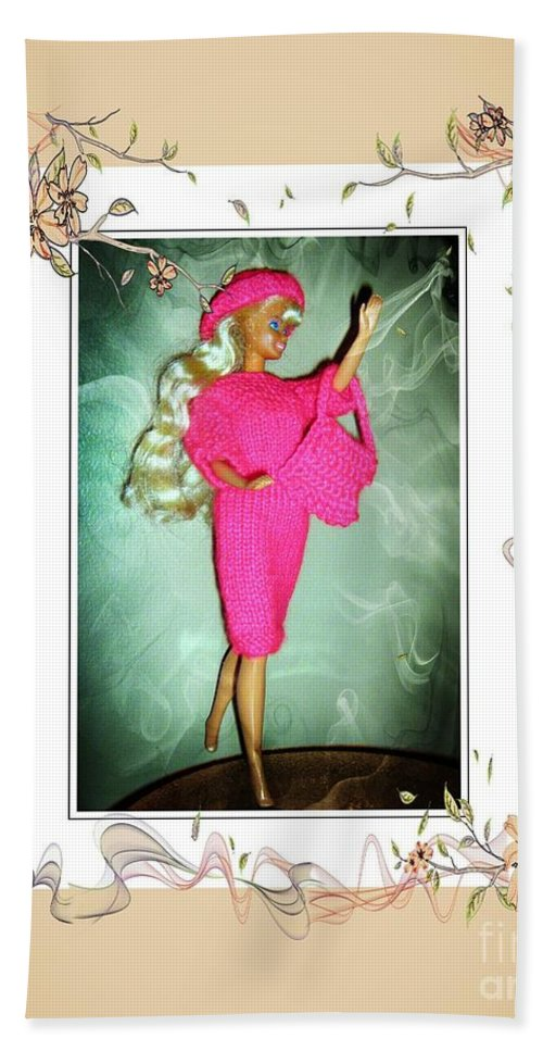 Ad A Great Time Beach Towel featuring the digital art I Had A Great Time - Fashion Doll - Girls - Collection by Barbara Griffin