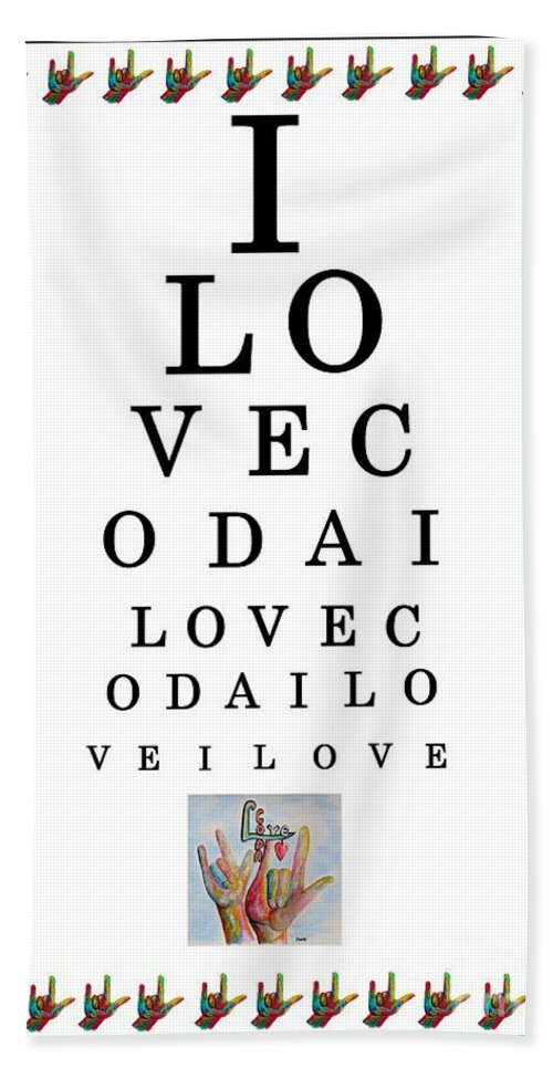 American Sign Language Beach Towel featuring the painting I Love Coda Eye Chart by Eloise Schneider Mote
