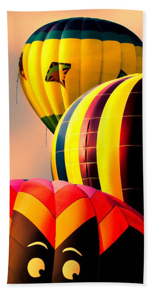 Hot Air Balloon Beach Towel featuring the photograph I See You by Bob Orsillo