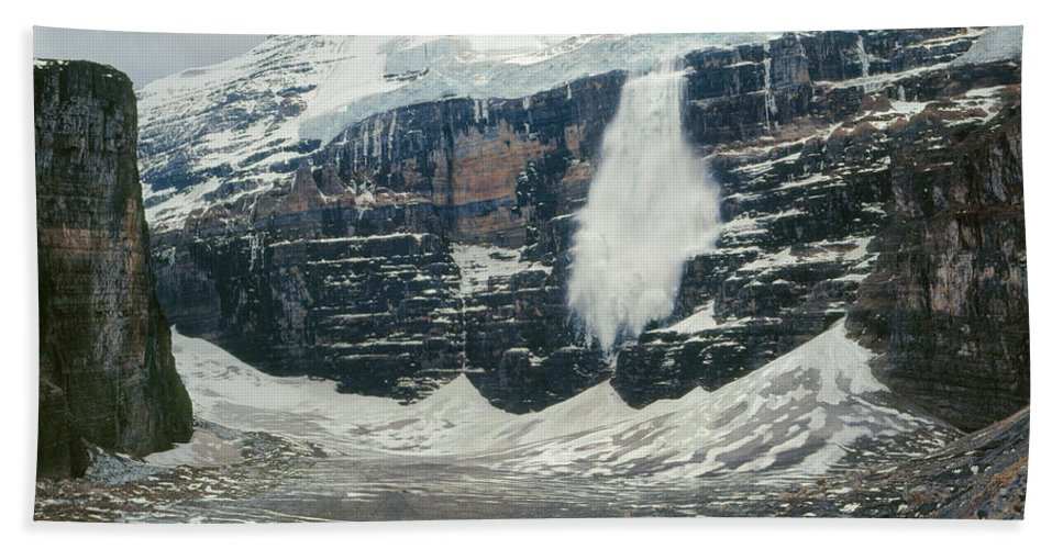 Ice Avalanche Beach Towel featuring the photograph 1m3545-01-ice Avalanche On Mt. Victoria by Ed Cooper Photography
