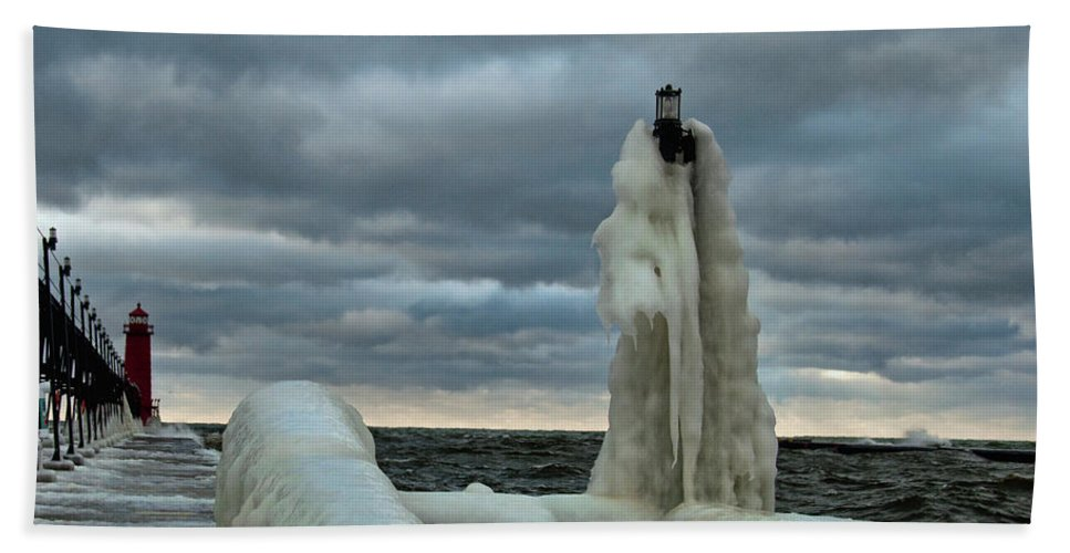 Lighthouse Beach Towel featuring the photograph Ice Coat by David Arment