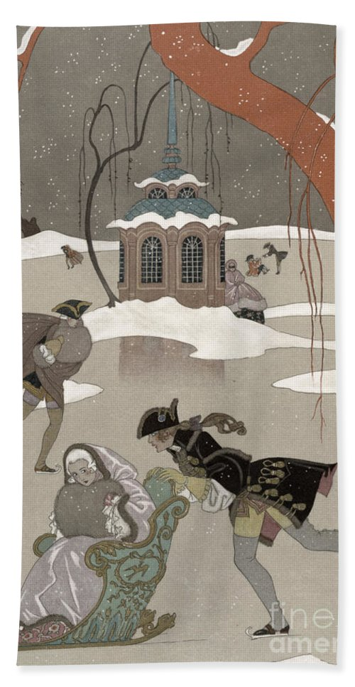 Pond Beach Towel featuring the painting Ice Skating On The Frozen Lake by Georges Barbier