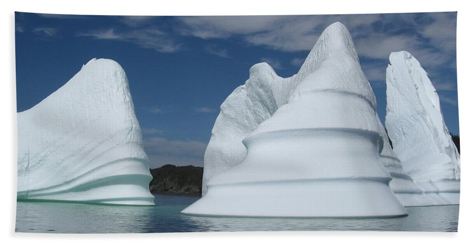 Iceberg Newfoundland Beach Towel featuring the photograph Icebergs by Seon-Jeong Kim