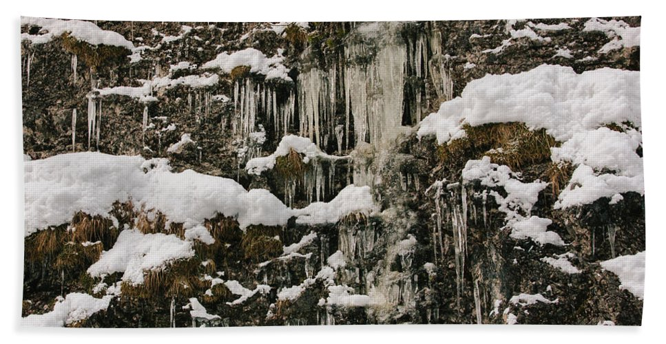Nature Beach Towel featuring the photograph Icicle Rocks by Pati Photography