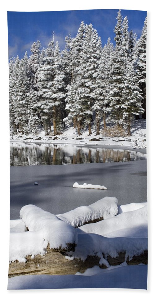 Snow Beach Towel featuring the photograph Icy Cold by Chris Brannen