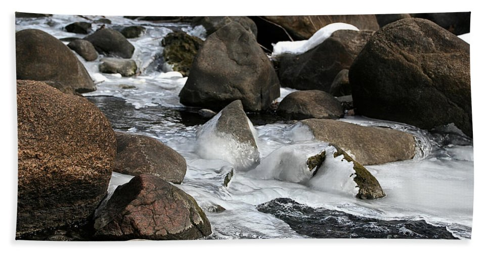 Outdoors Beach Towel featuring the photograph Icy Rapids by Susan Herber