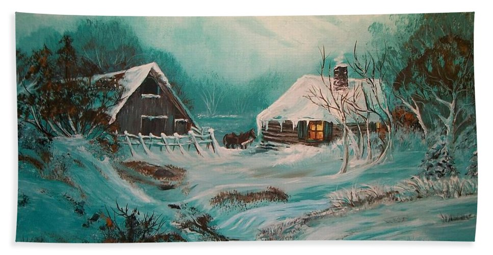 Log Beach Towel featuring the painting Icy Twilight by Sharon Duguay