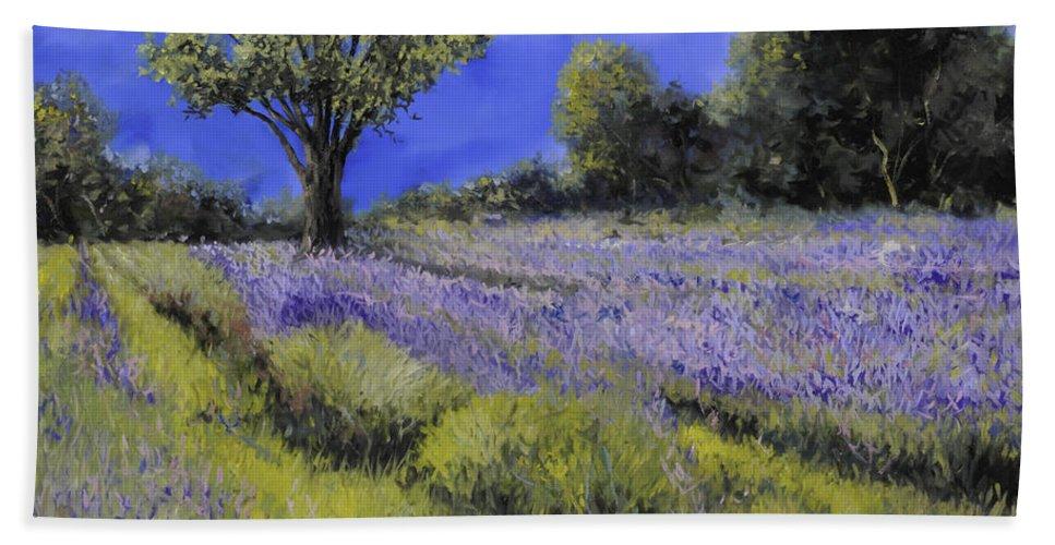 Lavender Beach Towel featuring the painting Il Campo Di Lavanda by Guido Borelli