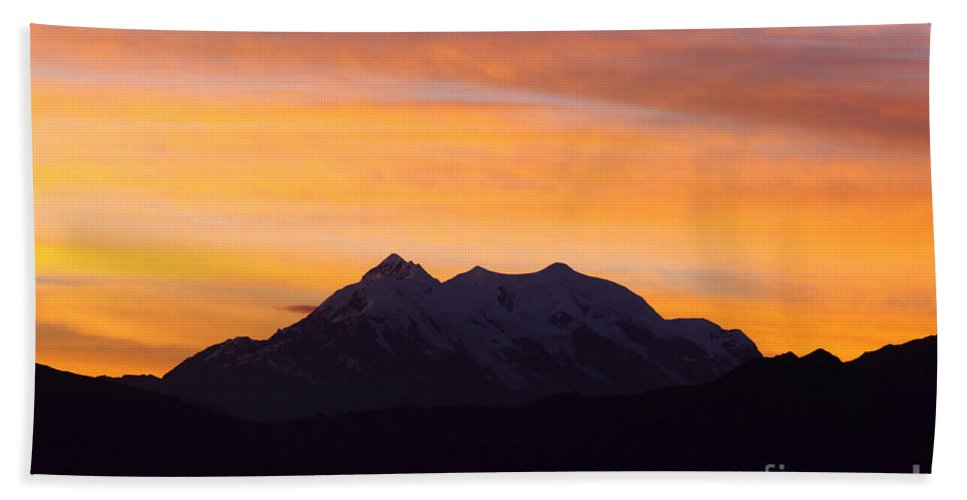 Bolivia Beach Towel featuring the photograph Illimani Sunrise by James Brunker