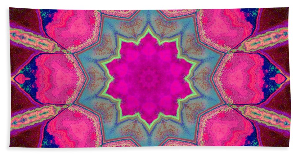 Mandala Beach Towel featuring the mixed media Illuminated Rose by SiriSat Julia Claire