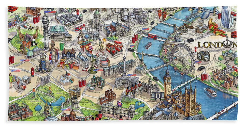 Map Of London And Surrounding Suburbs.Illustrated Map Of London Beach Towel