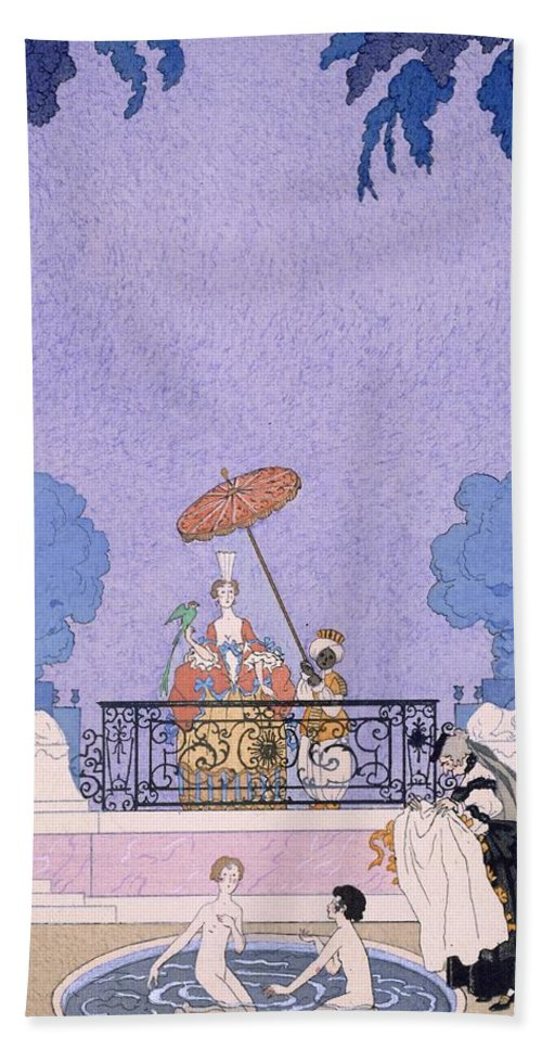 Male Beach Towel featuring the painting Illustration From A Book Of Fairy Tales by Georges Barbier