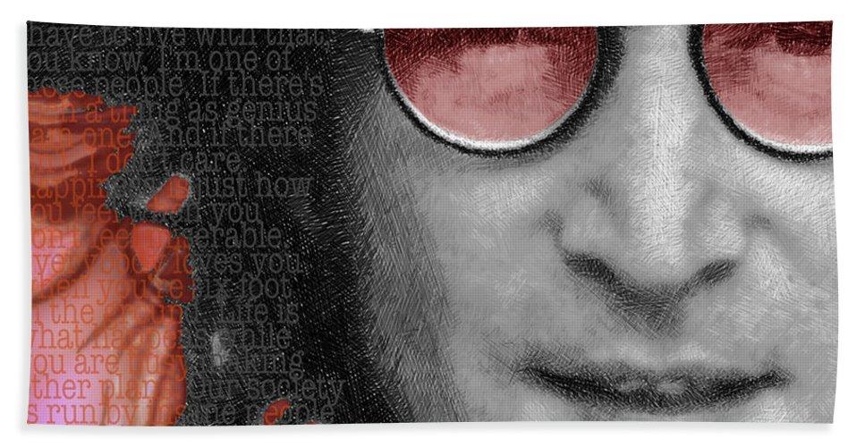 John Lennon Beach Towel featuring the painting Imagine John Lennon Again by Tony Rubino