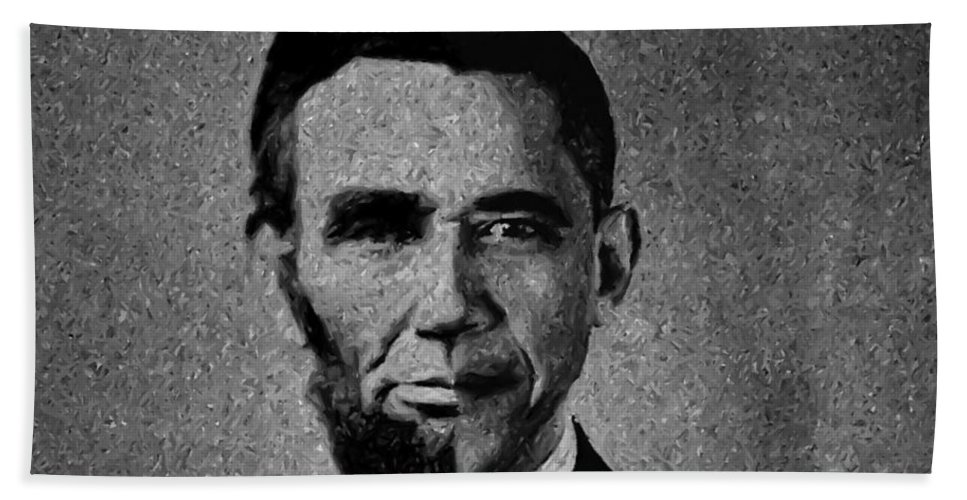 President Barack Obama Beach Towel featuring the photograph Impressionist Interpretation Of Lincoln Becoming Obama by Doc Braham