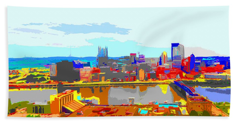 Pittsburgh Beach Towel featuring the photograph Impressionist Pittsburgh Across The River 2 by C H Apperson