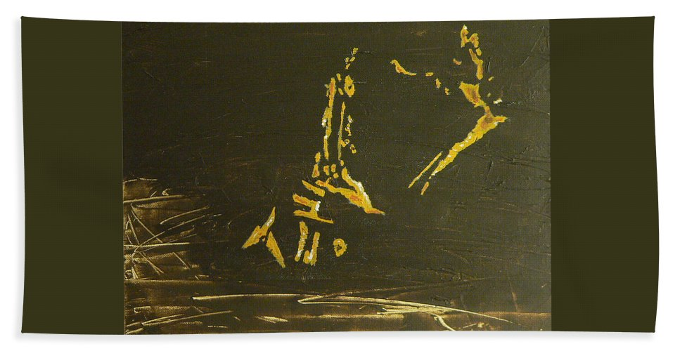 Coltrane Beach Towel featuring the painting In A Sentimental Mood by Michael Tokarski