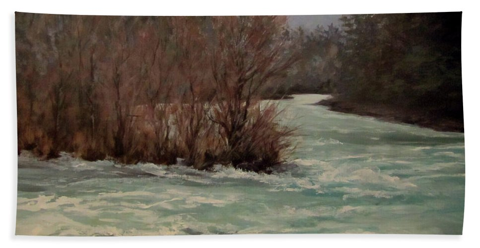 Landscape Beach Towel featuring the painting In All Seasons by Karen Ilari