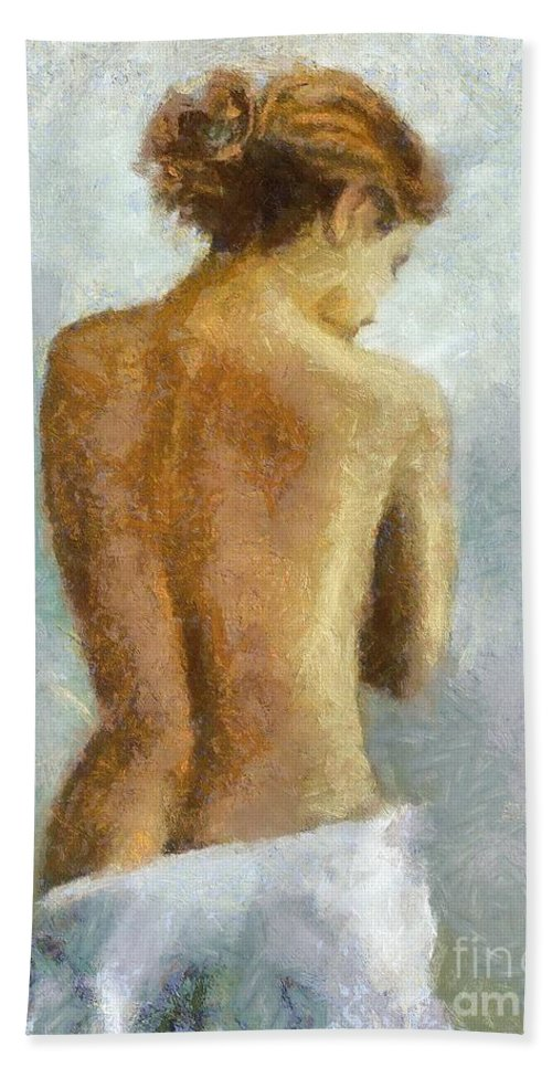 Nude Beach Towel featuring the painting In Anticipation by Dragica Micki Fortuna