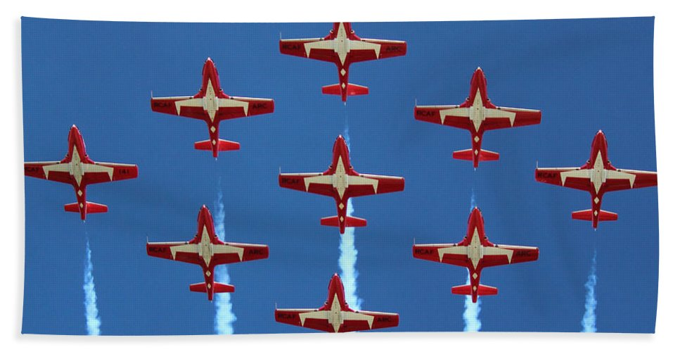 Snowbirds Beach Towel featuring the photograph In Formation by Randy Hall