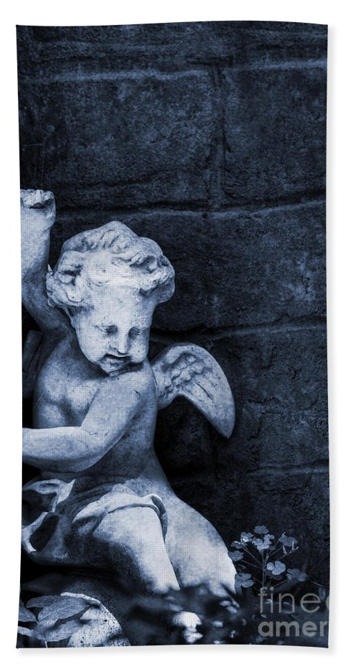 Statue; Angel; Dark; Blue; Child; Toddler; Sculpture; Symbolic; Grunge; Textured; Building; Stone; Garden; Hdr; Wings Beach Towel featuring the photograph In Heaven's Garden by Margie Hurwich
