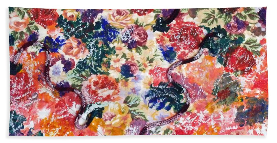 Mixed Media Beach Towel featuring the painting In The Garden I by Alys Caviness-Gober