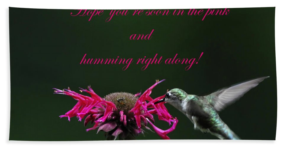 Bee Balm Beach Towel featuring the photograph In The Pink And Hummin Along by Randall Branham