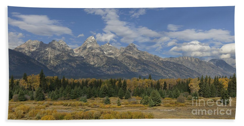 Hdr Beach Towel featuring the photograph In The Shadow Of The Tetons by Sandra Bronstein