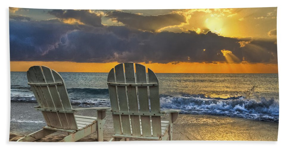 Zen Beach Sheet featuring the photograph In The Spotlight by Debra and Dave Vanderlaan