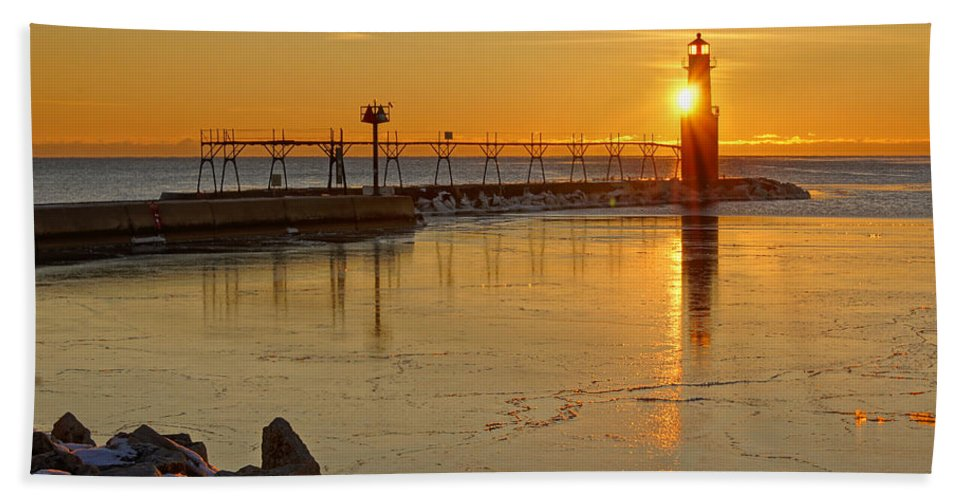 Lighthouse Beach Towel featuring the photograph In The Still Of The Light by Bill Pevlor