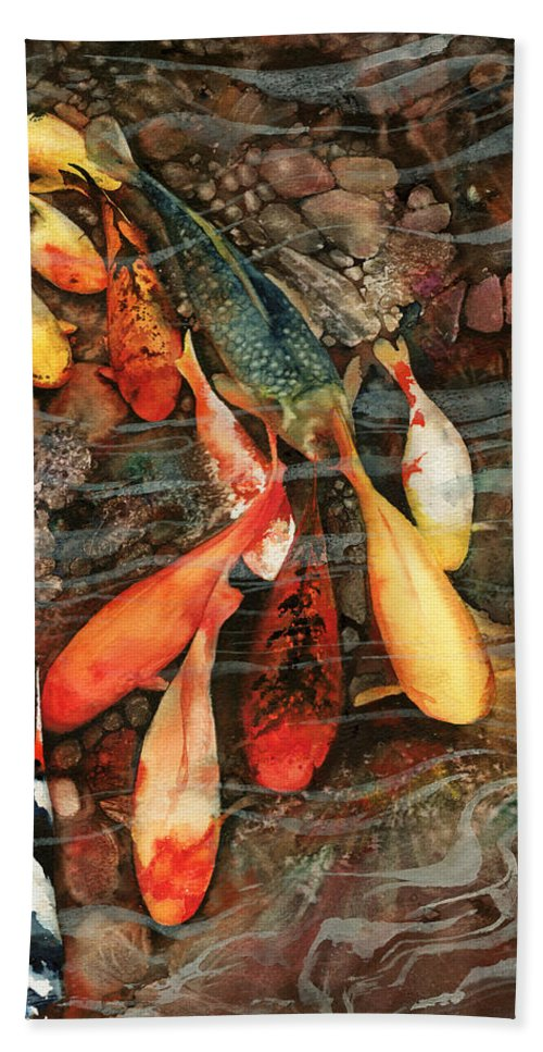 Fish Beach Towel featuring the painting In The Swim by Peter Williams