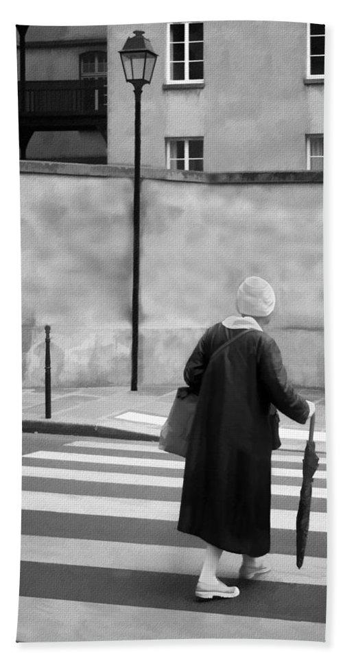Crosswalk Beach Towel featuring the photograph Independence - Street Crosswalk - Woman by Nikolyn McDonald