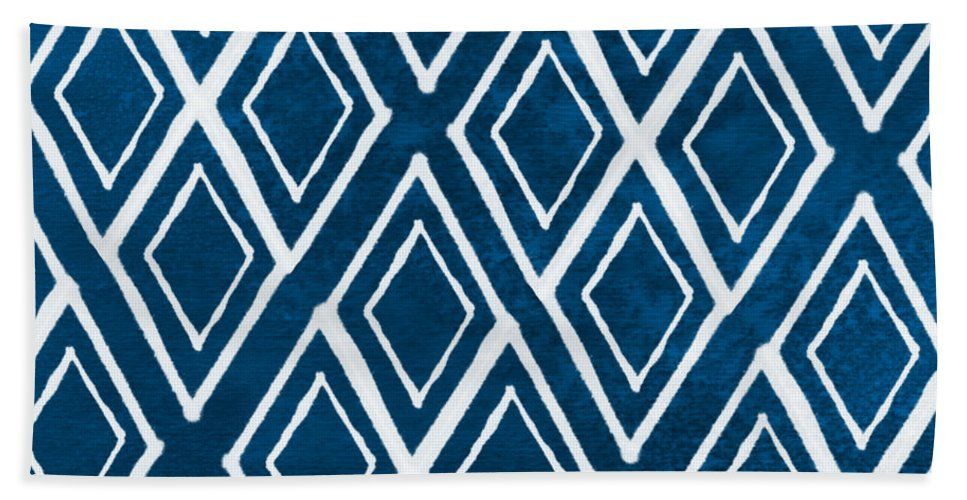 Indigo And White Beach Towel featuring the painting Indgo and White Diamonds Large by Linda Woods