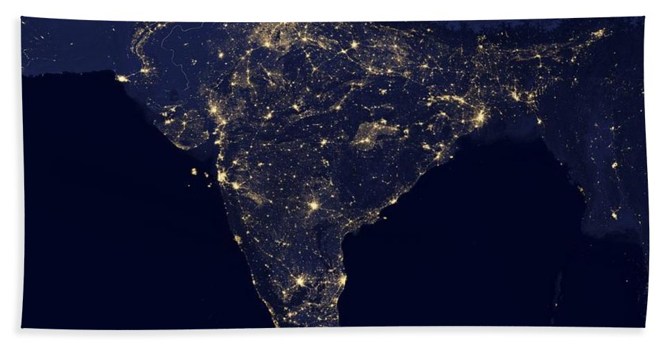 Earth Beach Towel featuring the photograph India At Night Satellite Image by Nasa