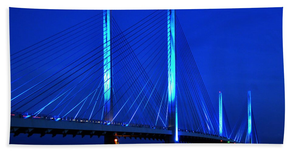 Indian River Bridge Beach Towel featuring the photograph Indian River Bridge At Night by Bill Swartwout Photography
