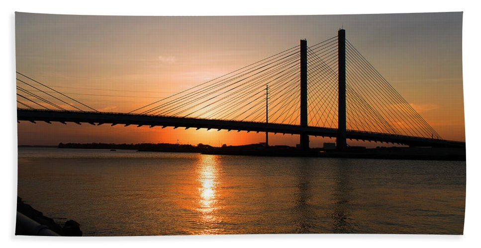 Indian River Bridge Beach Towel featuring the photograph Indian River Bridge Sunset Reflections by Bill Swartwout Photography