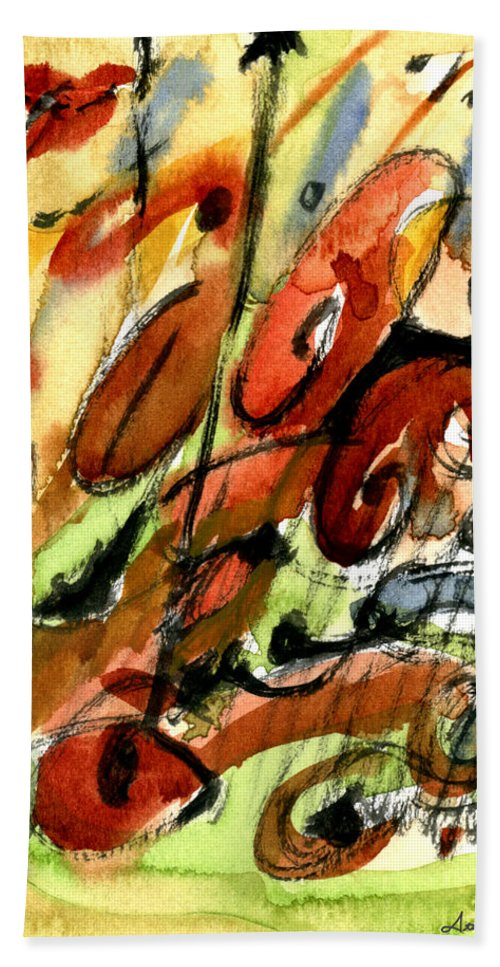 Abstract Art Beach Towel featuring the painting Indian Summer by Stephen Lucas