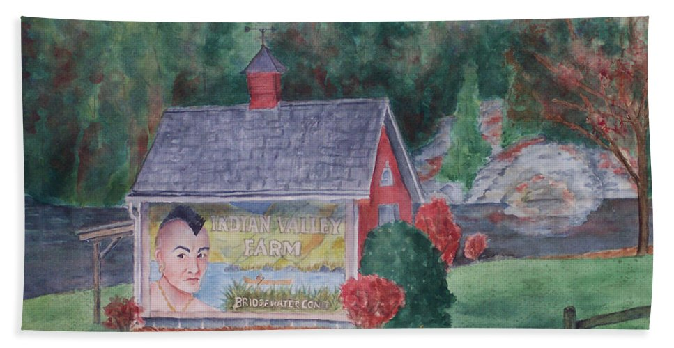 Indian Valley Farm Beach Towel featuring the painting Indian Valley Farm by Rhonda Leonard