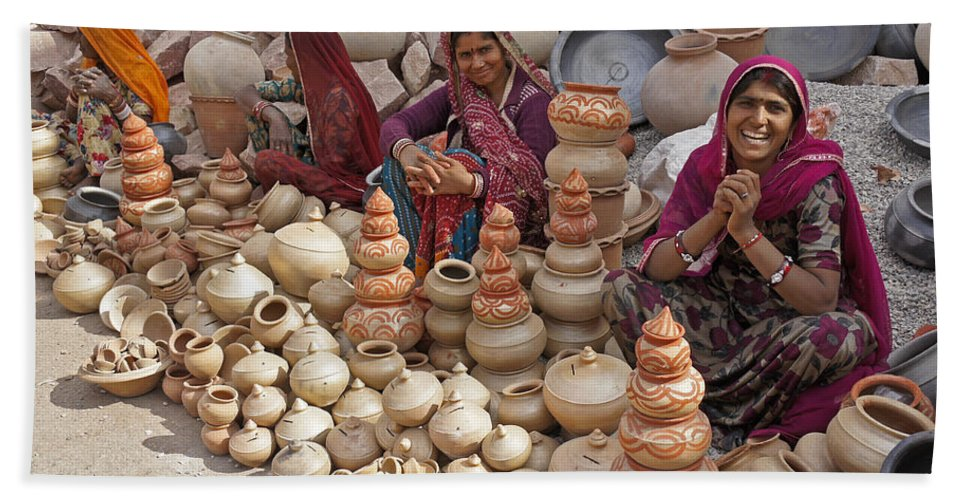 India Beach Towel featuring the photograph Indian Women Selling Pottery by Michele Burgess