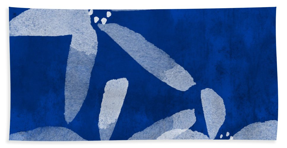 Abstract Beach Towel featuring the painting Indigo Flowers by Linda Woods