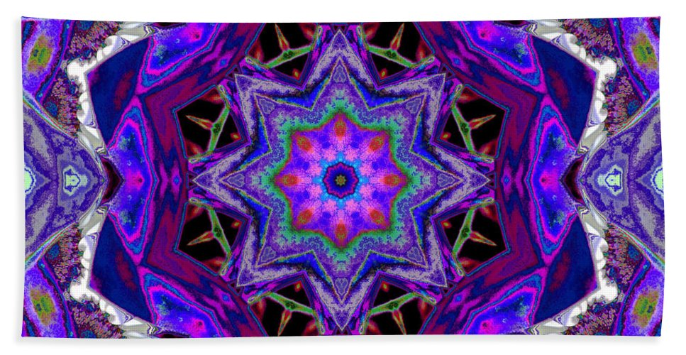 Mandala Beach Towel featuring the mixed media Indigo Intuition by SiriSat