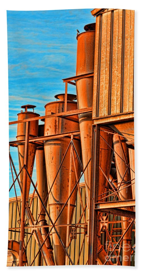 Arcitecture Beach Towel featuring the photograph Industrial Detail Photoart by Debbie Portwood