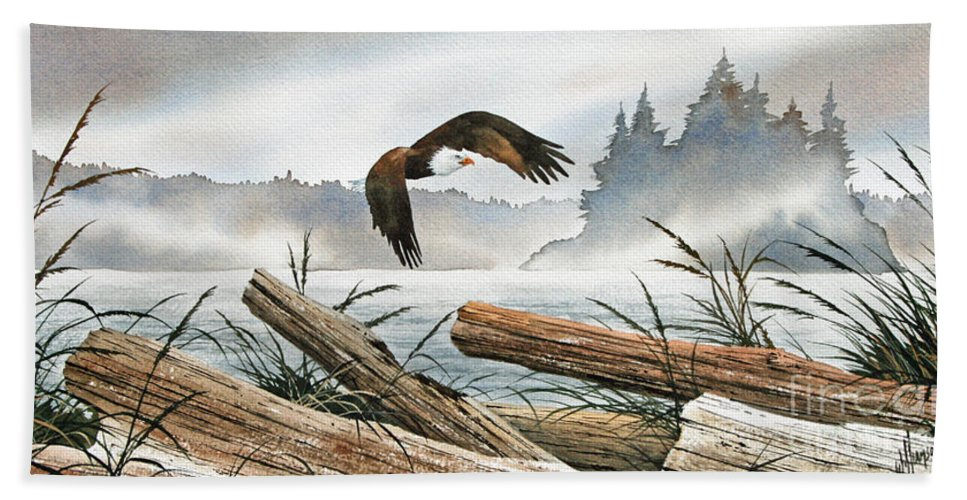 Eagle Fine Art Print Beach Towel featuring the painting Inland Sea Eagle by James Williamson