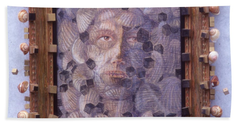 Portrait Shells Sea Box Cubes Snail Boxes Beach Towel featuring the painting Inner Cacophany - Framed by Nancy Mauerman