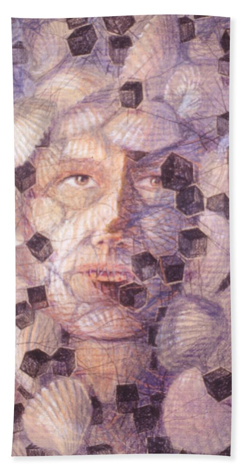 Portrait Shells Sea Box Cubes Snail Boxes Beach Towel featuring the painting Inner Cacophany by Nancy Mauerman
